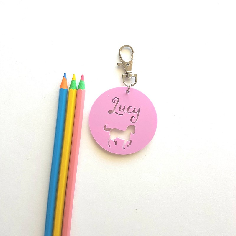Round Acrylic Horse Personalised Bag Tag