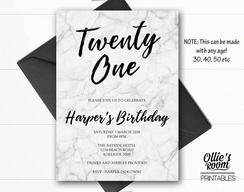 Marble Twenty First Birthday Invitation - ANY AGE