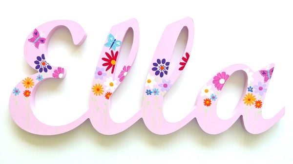 Painted Wooden Name - Butterfly Garden Pink Theme