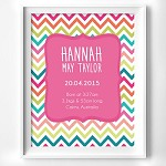 Print - Rainbow Chevron Birth Print