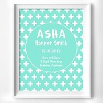 Print - Tiffany Blue Cross Birth Print