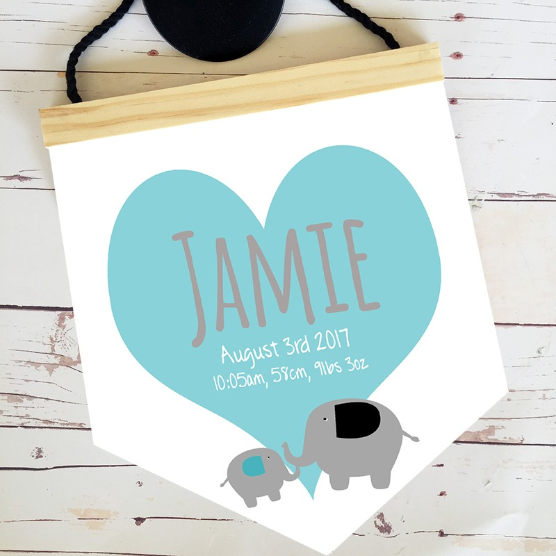 Personalised Birth Print Pendant - Blue elephant
