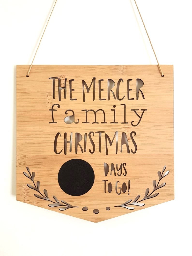 Family Christmas Countdown Sign  Bamboo