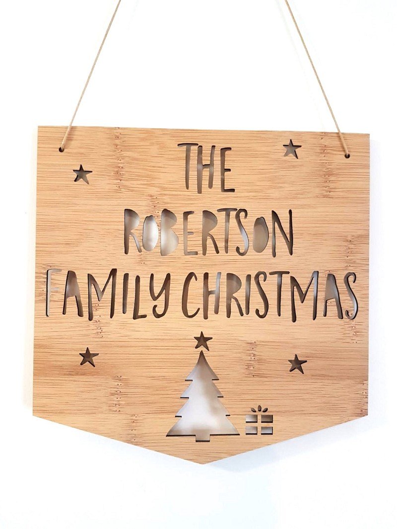 Personalised Family Christmas Bamboo Wall Hanging