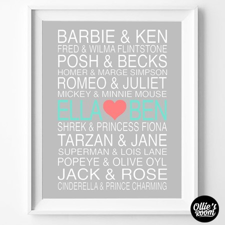 """PRINT YOURSELF"" PERSONALISED COUPLES Poster Print"