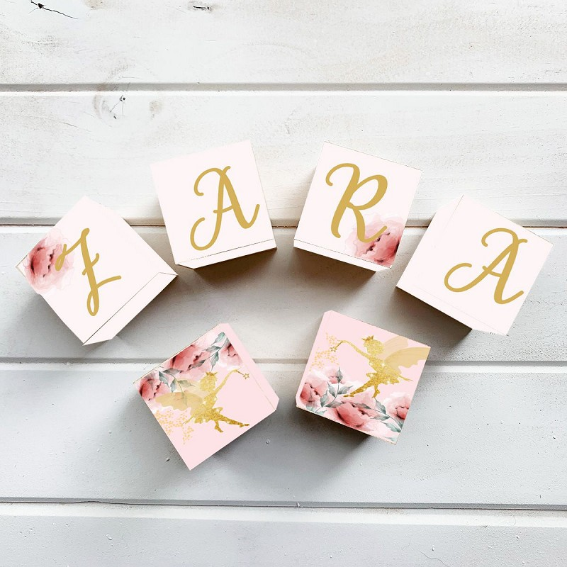 Personalised Name Wooden Blocks - Gold Fairies