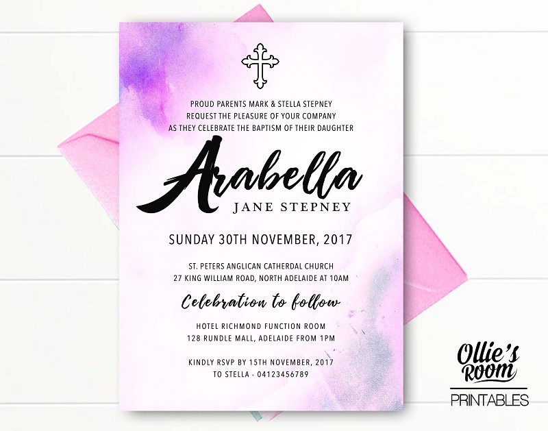 Pink Baptism, Christening or Communion Personalised Invitation