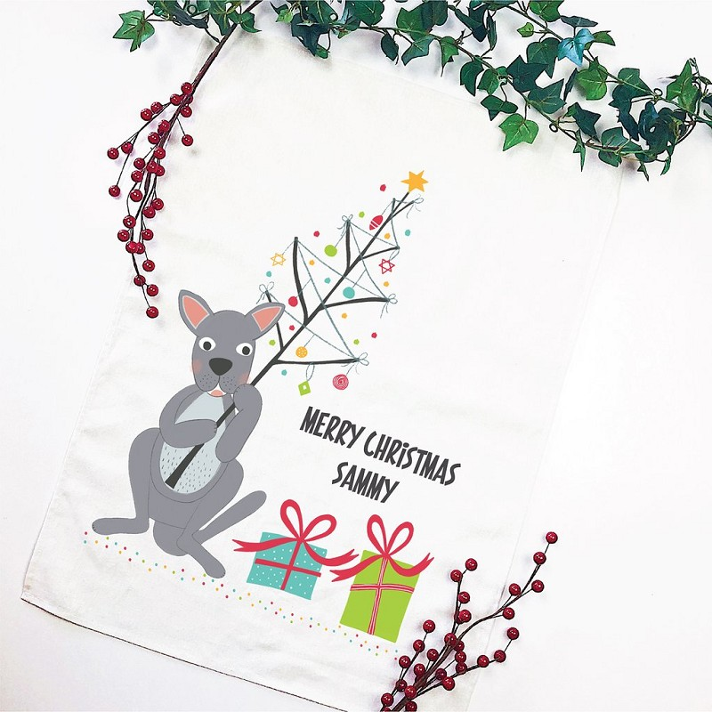 Christmas Kangaroo Personalised Christmas Tea Towel