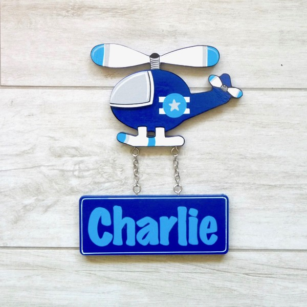Door Shape with Name - Blue Helicopter