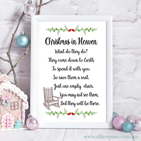 Christmas In Heaven Print Christmas Poem Christmas Print Decoration