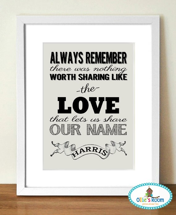 Sharing our Surname  -Customisable Surname Print