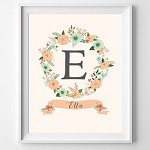 PRINT YOURSELF Personalised Floral Name Print (pink or peach)