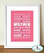A4 MOTHER Poster Print PINK COLOUR