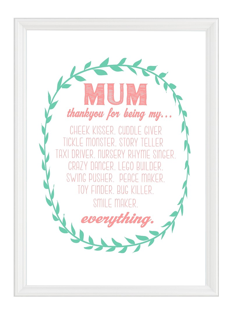 Mother's Day - Thankyou PRINT YOURSELF