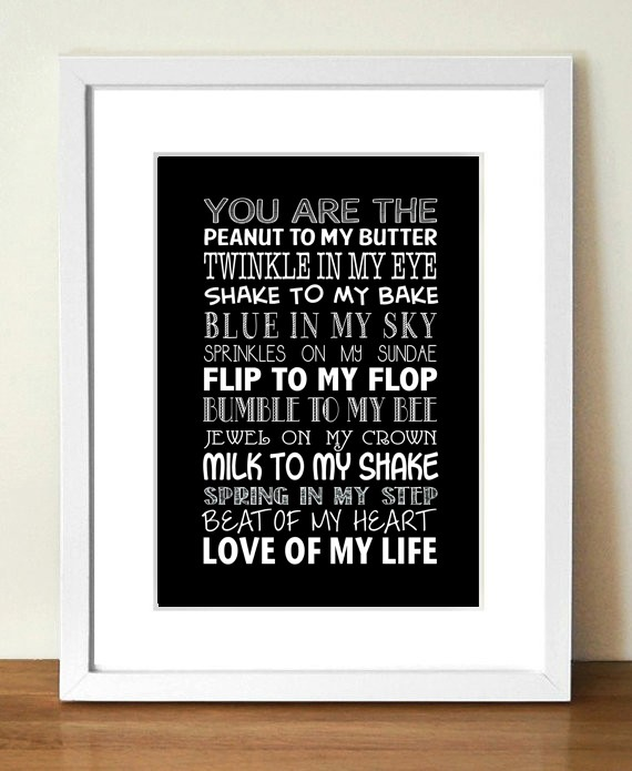 "A4 Print - ""You Are The…. "" (BLACK AND WHITE MULTI FONT)"