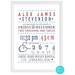 Personalised Birth Print - Typogaphy (Boys design)