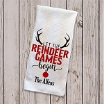 Let The Reindeer Games  Begin Christmas Tea Towel