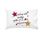 Glittery She Dreams Sparkles Personalised Pillow Case