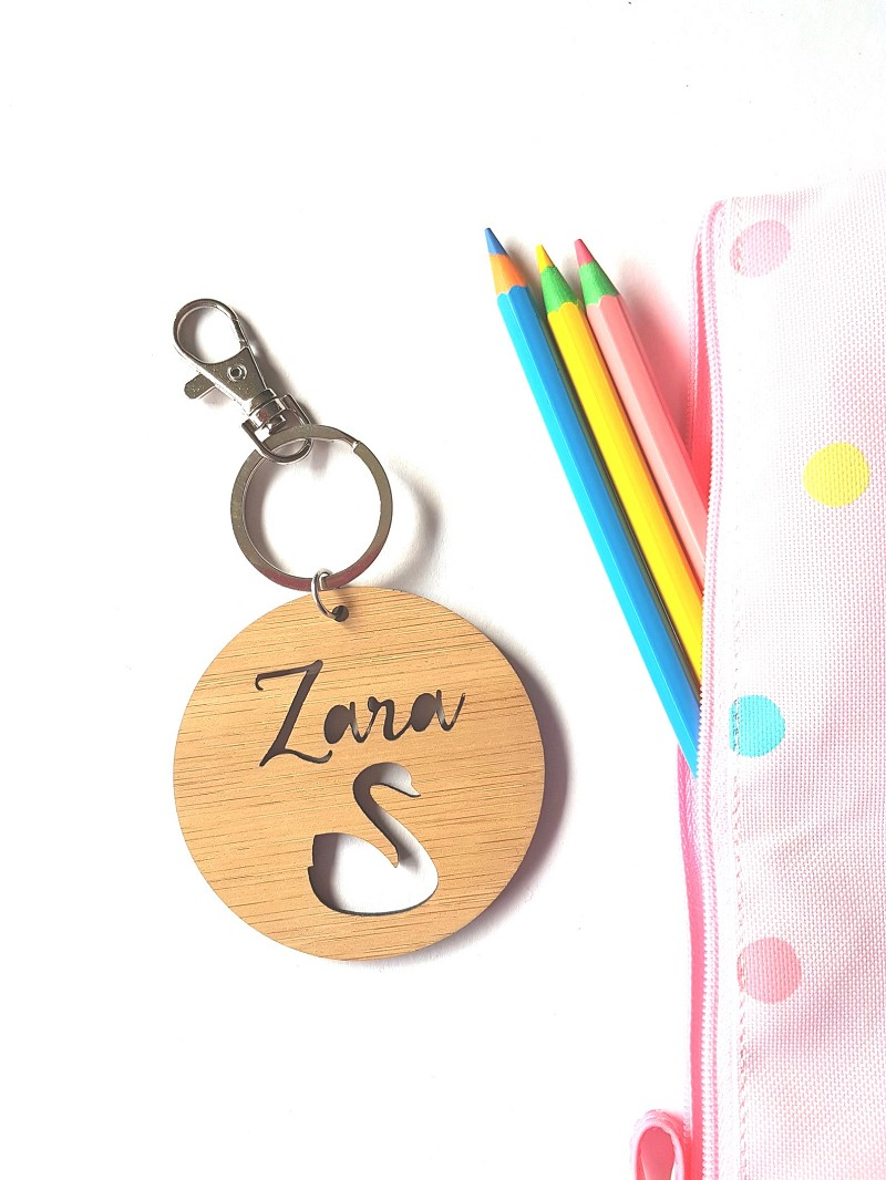 Round Swan Bamboo Personalised Bag Tag