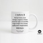 Personalised Apple Teacher Mug  I before E
