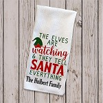 The Elves Are Watching Christmas Tea Towel