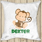 Personalised MONKEY Sequinned Cushion