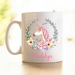 Personalised Kids Mug/Cup - Unicorn Wreath