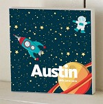 Spaceman Personalised Wooden Name Plaque