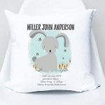 Blue Bunny Birth Personalised Cushion
