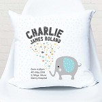 Love Heart Elephant Birth Personalised Cushion