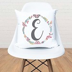 Floral Initial Wreath Personalised Custom Cushion