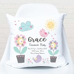 Chirping Birdie Birth Personalised Cushion