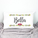Christmas Florals Kids Personalised Pillow Case