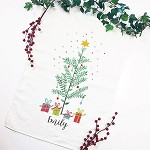 Eucalyptus Christmas Tree Personalised Christmas Tea Towel