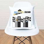 Monochrome Superhero Personalised Custom Cushion