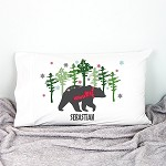 Christmas Mountain Bear Personalised Pillow Case