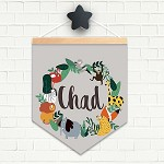 Animal Wreath Personalised Name Pendant Flag
