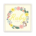 Yellow Floral Wreath Personalised Wooden Name Plaque