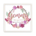 Personalised Crystal Wreath Wooden Name Plaque