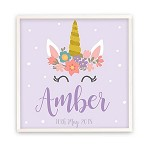 Personalised Wooden Name Plaque - Purple Unicorn