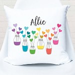 Personalised Rainbow Hearts Custom Cushion