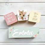 Floral Giraffe Wooden Birth Block