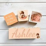 Floral Bear Wooden Birth Block Set