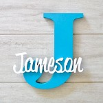 Freestanding Personalised Letter and Name - Aqua