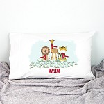 Safari Animals Personalised Christmas Pillow Case