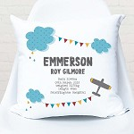 Flying High Personalised Birth Print Cushion