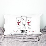 Three Christmas Bears Personalised Christmas Pillow Case