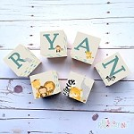 Personalised Name Wooden Blocks - Animal Friends