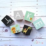 Personalised Name Wooden Blocks - Animal Friends Black