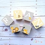 Personalised Name Wooden Blocks - Animal Friends Grey